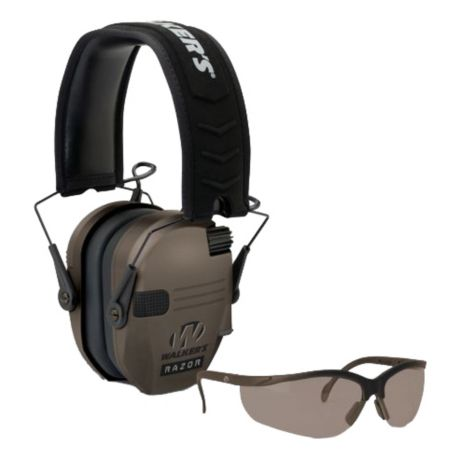 Walker's Razor Ultralow-Profile Electronic Muffs with Shooting Glasses