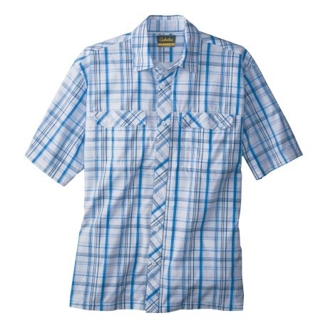 Cabela's Great Trail Woven Short-Sleeve Shirt - French Blue Plaid