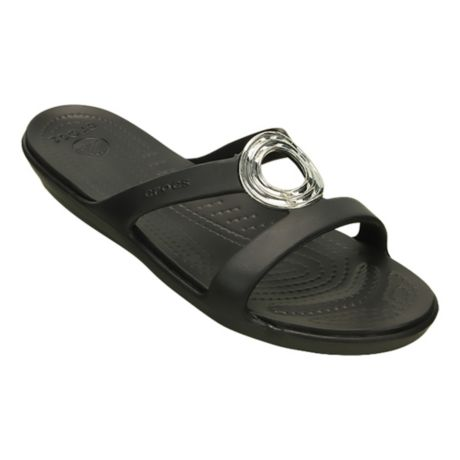 45f65ded2828 Mouse over image for a closer look. Crocs® Women s Sanrah Beveled Circle  Sandal - Black ...