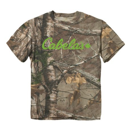 Cabela's Camo Logo Short Sleeve T-Shirt - Realtree XTRA®/Lime