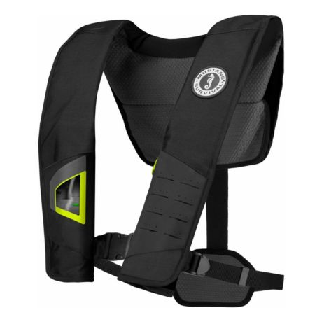 Mustang Deluxe 38 Auto Inflatable PFD - Black/Fluorescent Yellow