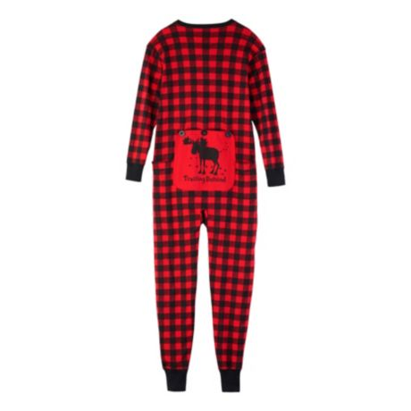 "Little Blue House ""Trailing Behind"" Buffalo Plaid Adult Union Suit - Red Buffalo Plaid - back"