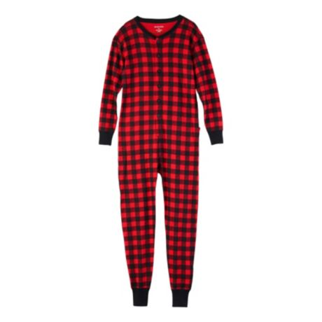 "Little Blue House ""Trailing Behind"" Buffalo Plaid Adult Union Suit - Red Buffalo Plaid"