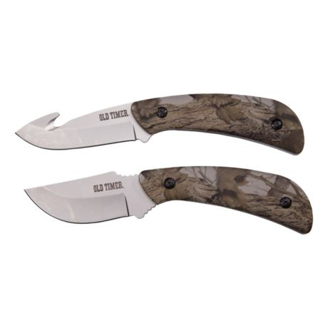 Old Timer Snowblind Camo Fixed Blade Hunting Knife Combo Set