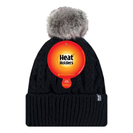 Heat Holders® Women's HeatWeaver® Solna Turn Over Pom Pom Hat - Black