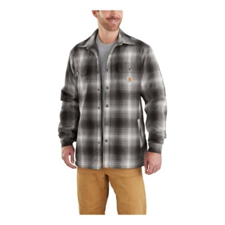 Carhartt Men S Hubbard Sherpa Lined Plaid Flannel Shirt Jacket