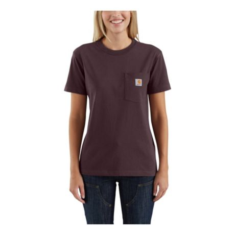 077d10c753 Carhartt® Women's WK87 Workwear Pocket Short-Sleeve T-Shirt - Deep Wine.  Use + and - keys to zoom in and out, arrow keys move the zoomed portion of  the ...