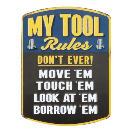 Open Roads My Tool Rules Embossed Metal Magnet