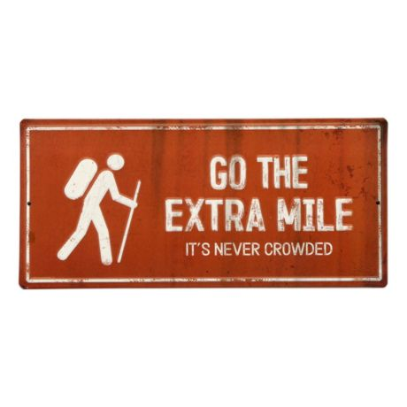 Open Roads Go The Extra Mile Die Cut Embossed Metal Sign
