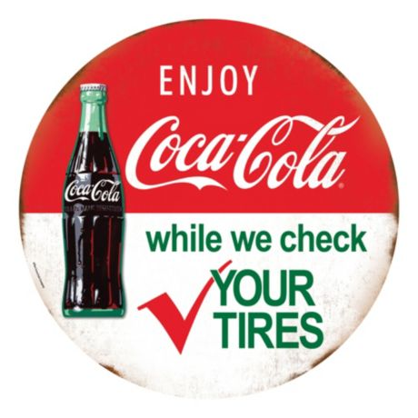 Open Roads Die Cut Coca-Cola Tin Tires Sign