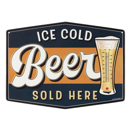 Open Roads Ice Cold Beer Embossed Metal Sign w/Thermometer