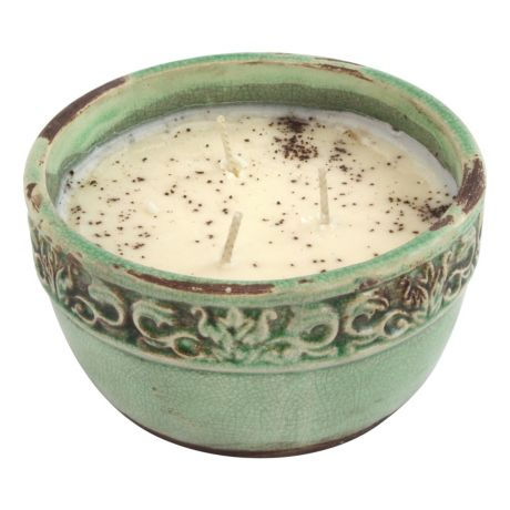 Swan Creek Vintage Round Pottery Candles - Bourbon Maple Sugar