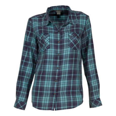 Natural Reflections® Women's Acid-Washed Plaid Shirt - Turquoise/Blue
