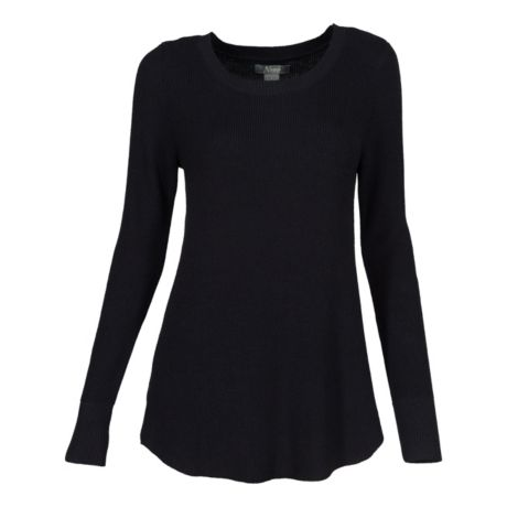 Natural Reflections® Women's Long-Sleeve Rib-Knit Sweater - Anthracite