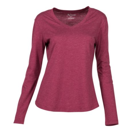 Natural Reflections® Women's Essential V-Neck T-Shirt - Burgundy