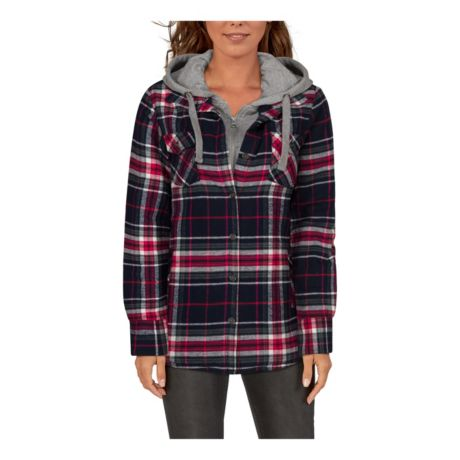 Natural Reflections® Women's 2-in-1 Hooded Flannel Shirt - Navy Plaid