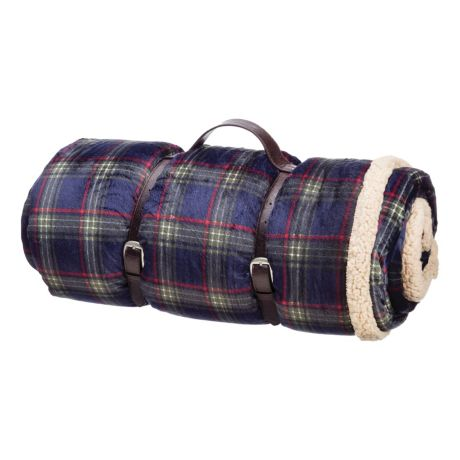 Wind River Giant Berber Blankets - Navy Plaid