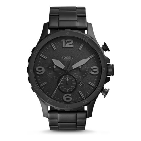 Fossil Men's Nate Chronograph Black Stainless Steel Watch