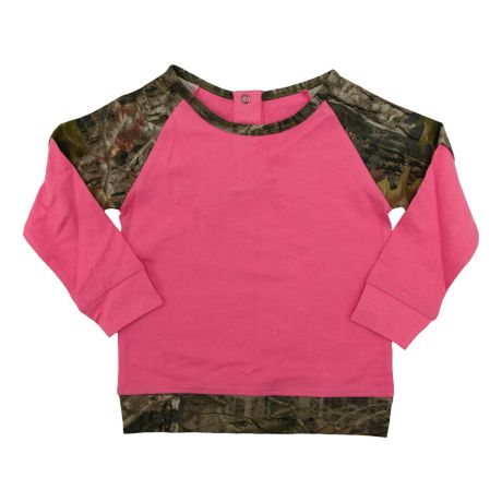 TrueTimber® Infant/Toddler Girls' Raglan Top - Dark Pink/Camo