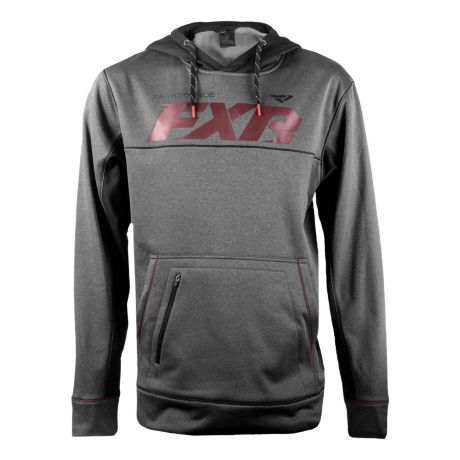 FXR® Men's Track Tech Pullover Hoodie - Charcoal Heather/Maroon