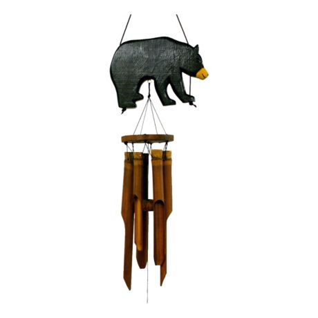 Cohasset Black Bear Silhouette Bamboo Wind Chime
