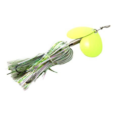 Musky Mayhem Micro Double Cowgirl Spinner - White Chartreuse