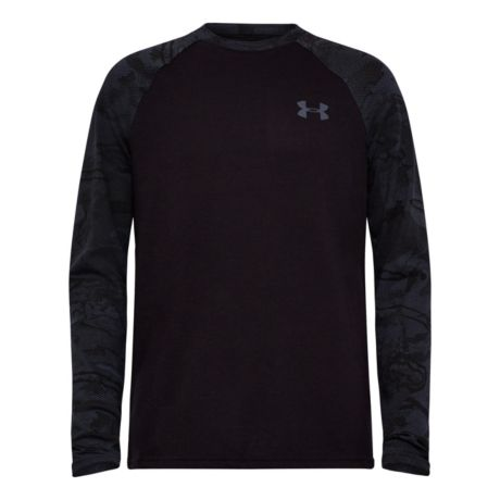 Under Armour® Boys' Halftone Raglan Long-Sleeve Shirt - Black