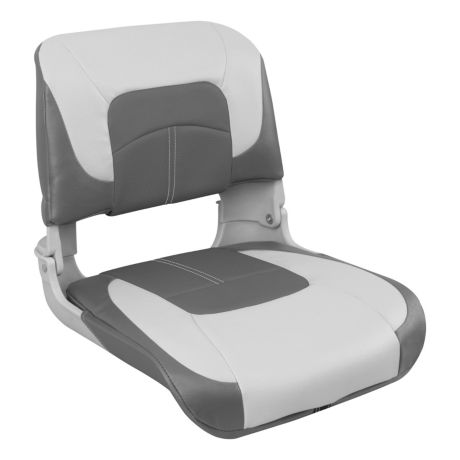 Bass Pro Shops® Hookset Low-Back Boat Seat - Grey/Charcoal/Charcoal