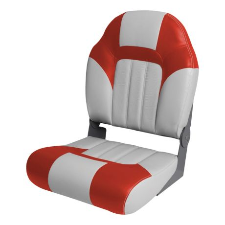Bass Pro Shops® Fisherman High Back Boat Seat - Grey/Red
