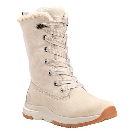 Timberland® Women's Mabel Town Mid Waterproof Winter Boots - Light Taupe Suede - Front Angle View