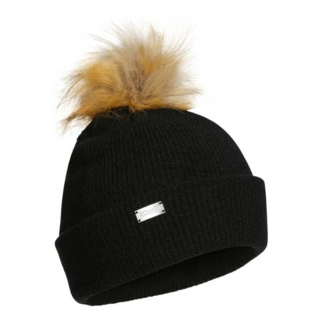 Kombi® Women's Chic Faux-Fur Pompom Toque - Black