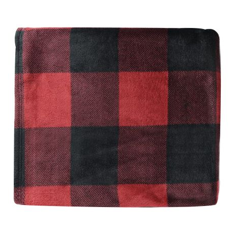 White River Buffalo Plaid Coral Fleece Throws - Red Plaid