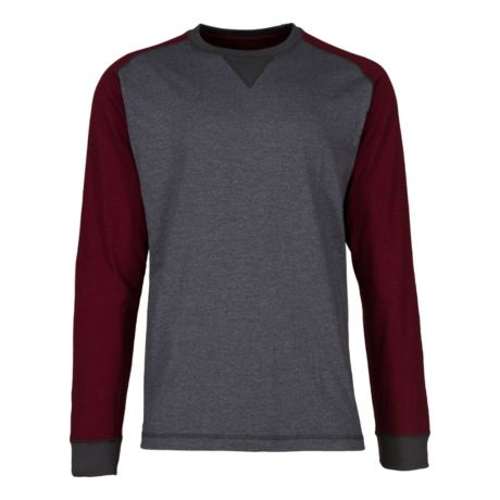 RedHead® Men's Colorblock Raglan Crew Long-Sleeve Shirt - Dark Grey/Wine