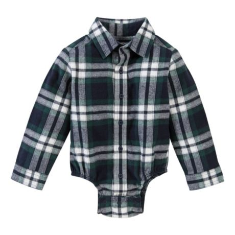 Bass Pro Shops® Infants' Plaid Bodysuit - Green/Navy