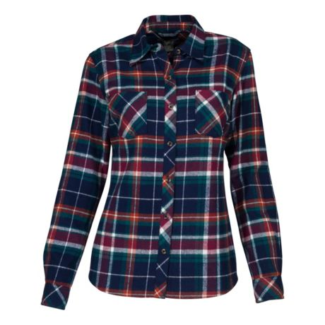 Natural Reflections® Women's Long-Sleeve Flannel Shirt - Black Iris Plaid