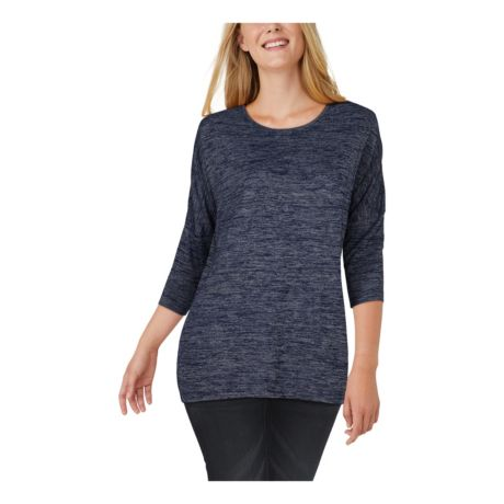Natural Reflections® Women's Sweater Knit Three-Quarter-Sleeve Tunic - Navy/Grey