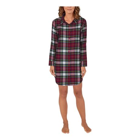 Natural Reflections® Women's Long-Sleeve Flannel Sleep Shirt - Rhubarb Plaid