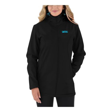 FXR® Women's Sierra Long Softshell Jacket - Black/Sky Blue