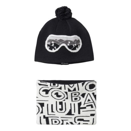 Columbia™ Toddlers' Snow More™ Hat and Gaiter Set - Black Typo Print
