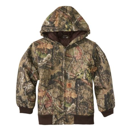 Carhartt® Boys' Mossy Oak® Camo Flannel Quilt-Lined Active Jacket