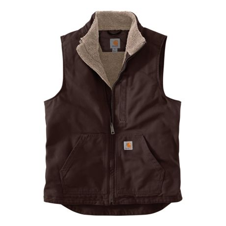 Carhartt® Men's Sherpa-Lined Mock Neck Vest - Dark Brown