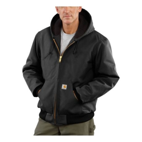 Carhartt® Men's Duck Quilted Flannel-Lined Active Jacket - Black