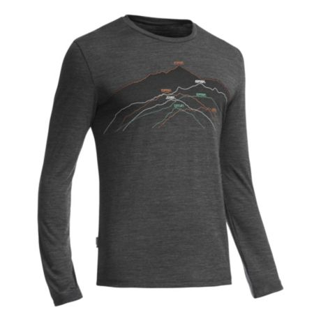 183562f0de Icebreaker Men's Tech Lite Long Sleeve Seven Summits Shirt - Jet Heather.  Use + and - keys to zoom in and out, arrow keys move the zoomed portion of  the ...
