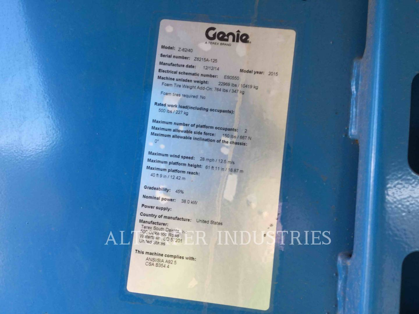 Used Lifts For Sale Altorfer Wiring Diagram Jlg 800aj 2015 Genie Industries Z62