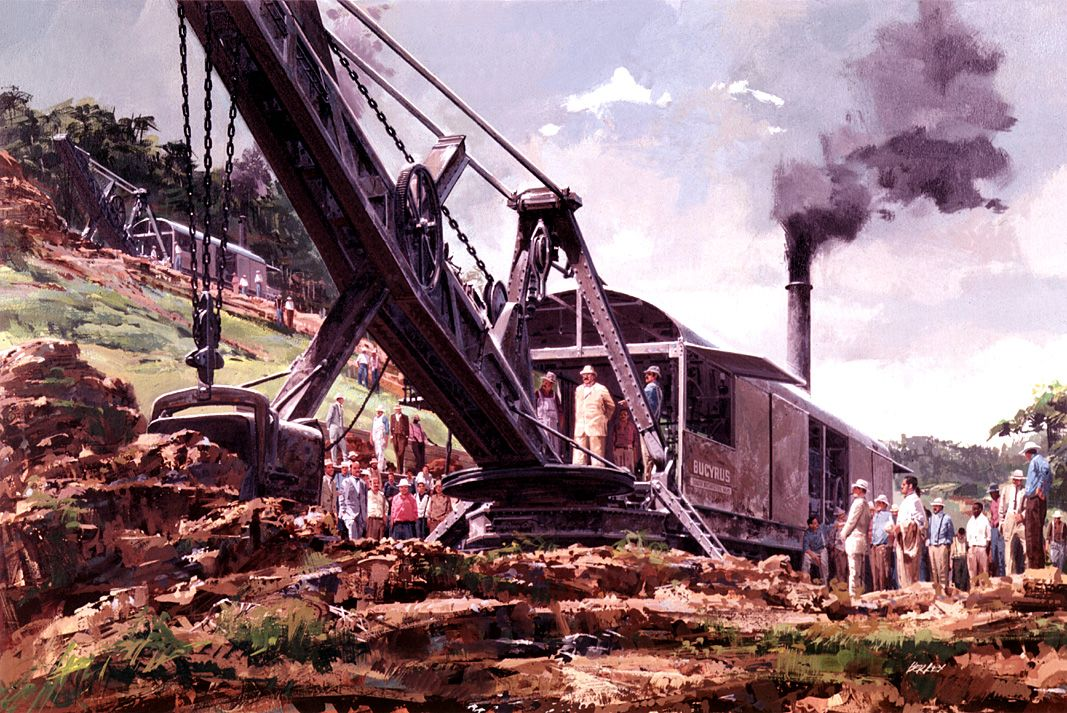 Roosevelt stands on a Bucyrus steam shovel in 1906