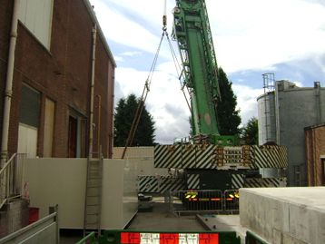 Generator set being installed on-site photograph