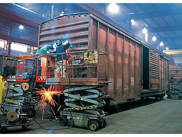 Welders at work on a boxcar at Progress Rail.