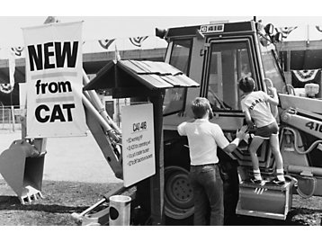 Expanded Cat® Backhoe Line on display in 1986.