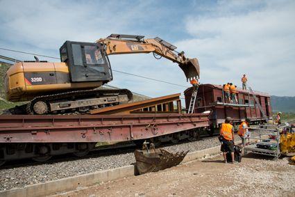 Excavator on Train