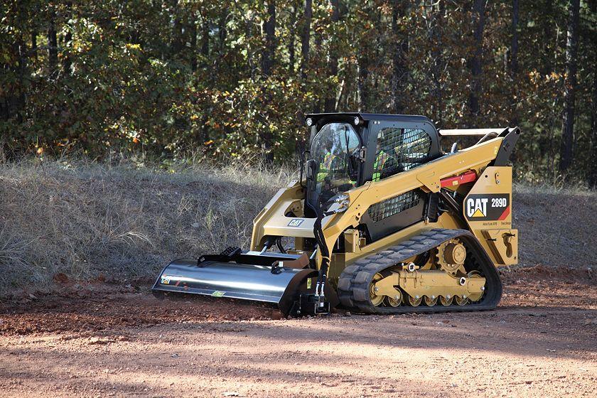 Cat® 289D Compact Track Loader and LT18B Landscape Tiller at Work